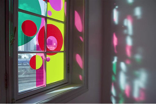 """Window installation from exhibition """"Beatriz Milhazes: Paintings and Collages"""", 2008 Sao Paolo, Brazil"""
