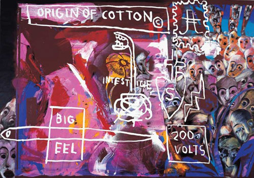 Origin of Cotton, 1984, Andy Warhol, Jean-Michel Basquiat and Francesco Clemente. Private Collection, Courtesy Galerie Bruno Bischofberger, Zurich. © 2010 The Andy Warhol Foundation for the Visual Arts/Artists Rights Society (ARS), New York. © 2010 The Estate of Jean-Michel Basquiat/ADAGP, Paris/ARS, NY. Photo courtesy of brooklynmuseum.org